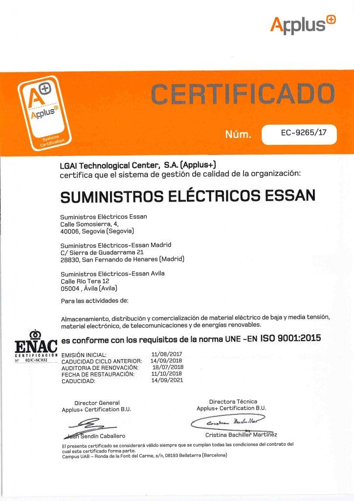 certificado-9001-ESSAN